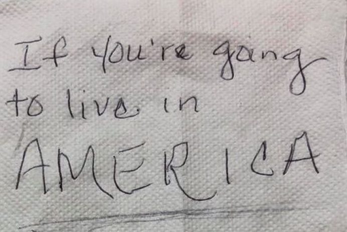 Xenophobic note left at a restaurant