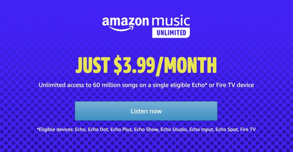 Get Amazon Music Unlimited for just $4 a month on your ...